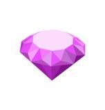 Purple Diamond Isolated on White Background Stock Photos