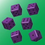 Purple Dice with Black Points stock illustration
