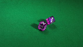 Purple dice rolling on green table stock footage