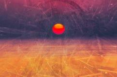 Purple digital sunrise background. Composite of fractal images over morning sea. concept of electronic era beginning stock illustration