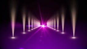 Purple digital walkway with spotlights stock footage