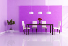 Purple dining room Royalty Free Stock Image