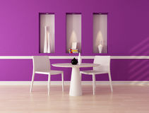 Purple dining room. Minimalist purple dining room with niche - rendering Royalty Free Stock Image