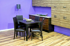 Purple dinning room Royalty Free Stock Photography