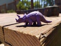 Purple dinosaur on deck royalty free stock photography