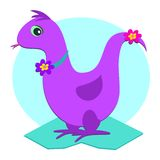 Purple Dinosaur with Flower Royalty Free Stock Image