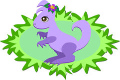 Purple Dinosaur with Plants Stock Photography