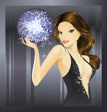 Purple disco ball- brunette Royalty Free Stock Photo