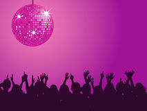 Purple disco ball & crowd Stock Images