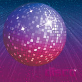 Purple disco ball on dark background. With shining rays of light Stock Image