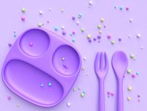 3d rendering Purple dish spoon fork colorful candy sphere. Purple dish spoon fork colorful candy sphere 3d rendering royalty free illustration