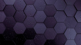 Purple displaces hexagons background. 3d illustration render Stock Image
