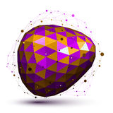 Purple distorted 3D abstract object with lines and dots Stock Images