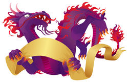 Purple Dragon. With banner, color vector illustration stock illustration