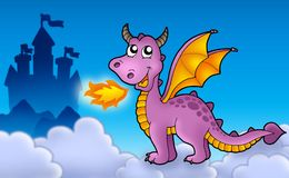 Purple dragon with castle. Color illustration Royalty Free Stock Image