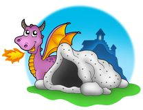 Purple dragon with cave. Color illustration Royalty Free Stock Photos