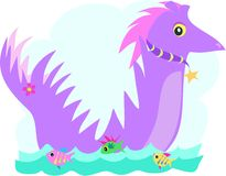 Purple Dragon with Fish Friends. Here is a cute purple Dragon swimming with fish friends Royalty Free Stock Photos