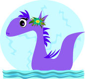 Purple Dragon with Flower Stock Photo