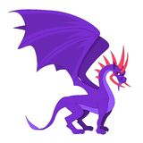 Purple dragon with horns cartoon stock illustration