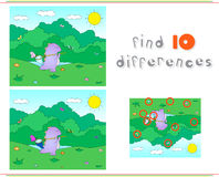 Purple dragon with net for butterflies. Educational game for kid. S: find ten differences. Vector illustration Royalty Free Stock Image
