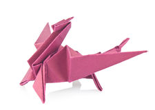 Purple dragon of origami Royalty Free Stock Photo
