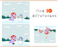 Purple dragon playing with snowman on the winter meadow. Educati Royalty Free Stock Images