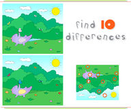 Purple dragon playing on the summer or spring meadow. Educationa. L game for kids: find ten differences. Vector illustration Stock Images