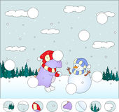 Purple dragon with snowman in the winter forest: Stock Photos
