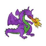 Purple dragon throwing flames Stock Photos