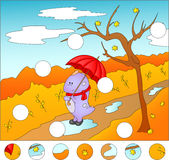 Purple dragon with umbrella in the autumn park. complete the puz. Zle and find the missing parts of the picture. Vector illustration. Educational game for kids Royalty Free Stock Image