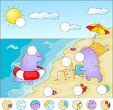 Purple dragons on the beach: complete the puzzle Royalty Free Stock Photo