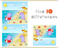 Purple dragons playing on the summer beach. Educational game for. Kids: find ten differences. Vector illustration Royalty Free Stock Images