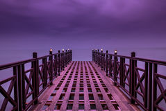 Purple dreams... Pier in Corfu Greece. Tranquil scene of a pier in Corfu Greece Ionian Islands Europe Stock Photo