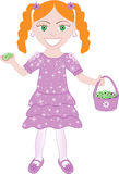 Purple Dress Flower Girl 2. Vector of cute little girl with Flowers and Basket Royalty Free Stock Photos