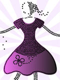 Purple dots dress Stock Image