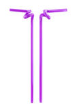 Purple drinking straws isolated Stock Images