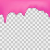 Purple dripping cream on transparent background. Vector.  Royalty Free Stock Images
