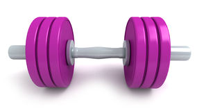 Purple dumbbells. 3D-rendering of purple dumbbells against a white background Stock Photography