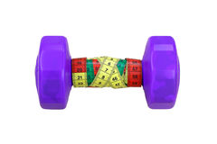 Purple dumbbells with measuring tape isolated on white Royalty Free Stock Images