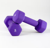 Purple dumbells on white Stock Photography
