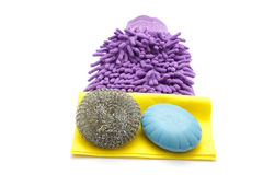 Purple Dust Wiper with Sponge and Soap Stock Photos