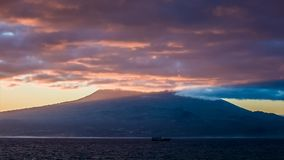 Purple early light at sunrise over Pico volcano stock video