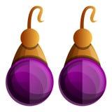 Purple earrings icon, cartoon style royalty free illustration