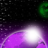 Purple Earth Background Shows Brightness Planet And Heavens. Purple Earth Background Showing Brightness Planet And Heavens Royalty Free Stock Images