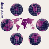 Purple Earth globes and world map Stock Image