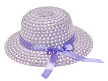 Purple Easter Bonnet Hat. Isolated on White with a Clipping Path Royalty Free Stock Photography