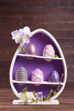 Purple easter decoration. Easter eggs decoration ideas in purple and pink Stock Photos
