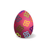 Purple easter egg with painted flowers. On a white background Stock Illustration