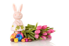 Purple Easter tulips bunny Royalty Free Stock Photography