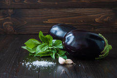 Purple eggplant (aubergine) with basil and garlic on dark wooden table. Fresh raw farm vegetables - harvest fr. Eggplant (aubergine) with basil and garlic on Royalty Free Stock Photos